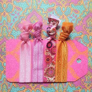 Set of 4 Pink Orange Boho Floral Hair Ties